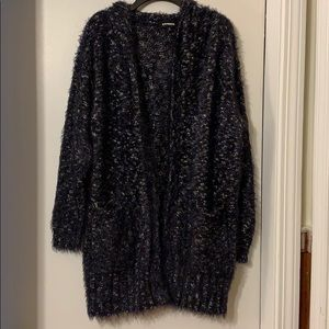 Fuzzy Long Cardigan with Hood by Express